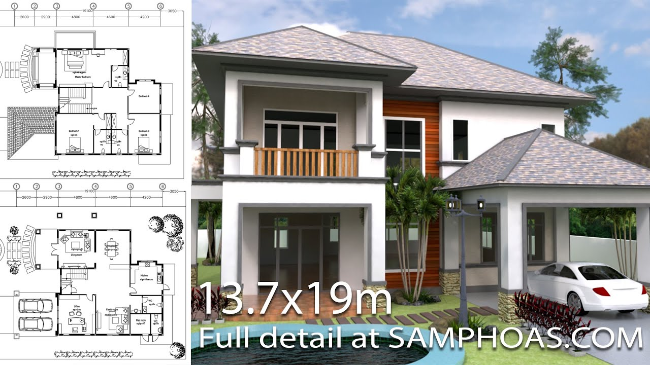 Incroyable Home Design 3d Sketchup Villa Plan 13.7x19m