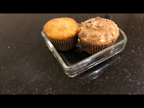 Two Muffins Using A Box Cake Mix| Banana Chocolate Chip And Coffee Cake