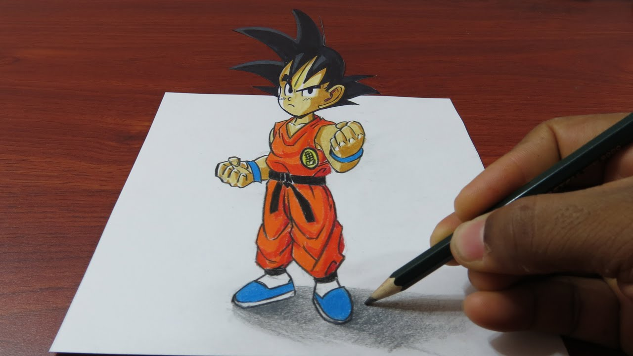 How To Draw 3d Goku Easy Dragon Ball 3d Trick Art