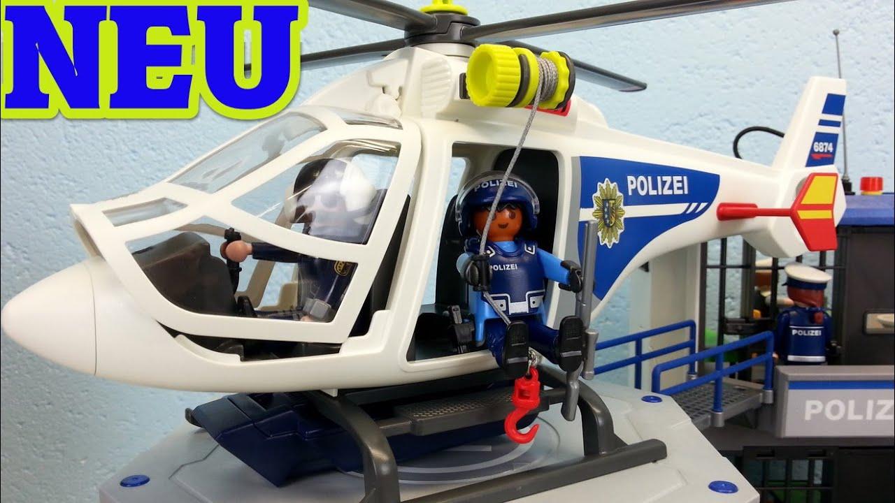 playmobil polizei helikopter mit led scheinwerfer