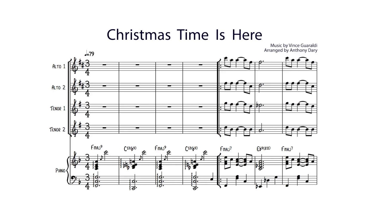 Christmas Time Is Here Piano.Christmas Time Is Here Saxophone Quartet Vince Guaraldi Charlie Brown Christmas