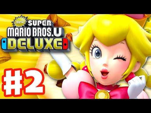 New Super Mario Bros U Deluxe - Gameplay Walkthrough Part 2 - Layer-Cake Desert! (Nintendo Switch)