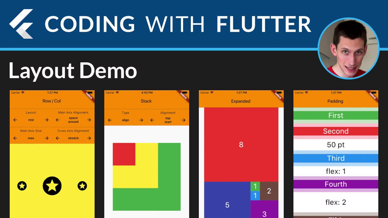 Flutter Layouts Walkthrough: Row, Column, Stack, Expanded, Padding