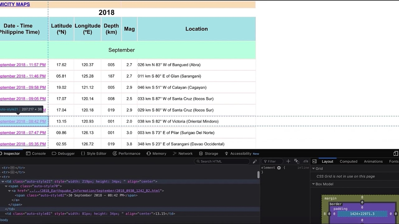 Julia: Introduction to Web Scraping (PHIVOLCS' Seismic