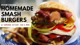 HOW TO MAKE SMASHBURGERS!! (WITH HOMEMADE BUN, PICKLES, KETCHUP) FT. MADE IN COOKWARE thumbnail