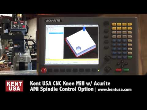 Kent USA CNC Knee Mill With Acurite AMI Spindle Control Option V2
