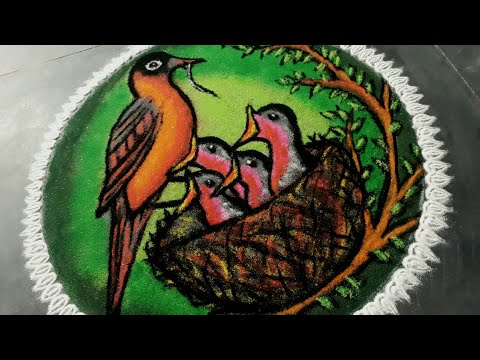 Mother bird with babies Poster Rangoli ||  Mother's Day Special