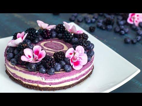 Raw Vegan Blueberry And Blackberry Zebra Cake