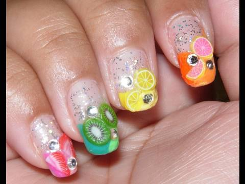 colorful fruit nail tutorial