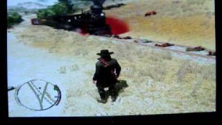 Red Dead Redemption Train vs. 10 hogtied guys.