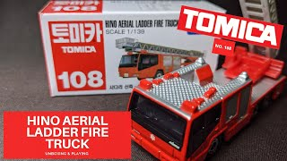 TAKARA TOMY TOMICA MODEL NO.108 HINO AERIAL LADDER FIRE TRUCK  SCALE 1/139 REVIEW & PLAY CAR TOY