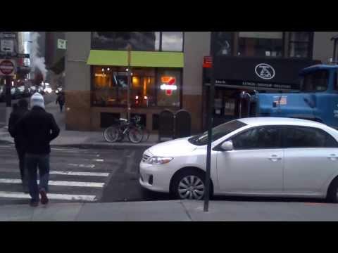 Walking in Downtown New York City near South Street Seaport