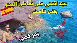 عيد الأضحى على شاطئ البحر في اسبانيا شواية ممنوع وللأسف الغربة هيا هدي 🚫