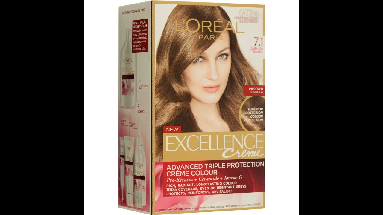 Loreal Paris Excellence Cream Medium Ash Blonde 71 Review On Red