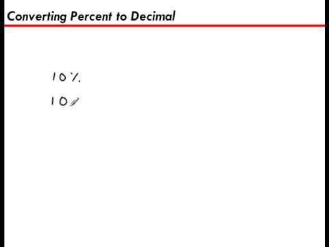 Converting a Percent to a Decimal (10%) - YouTube