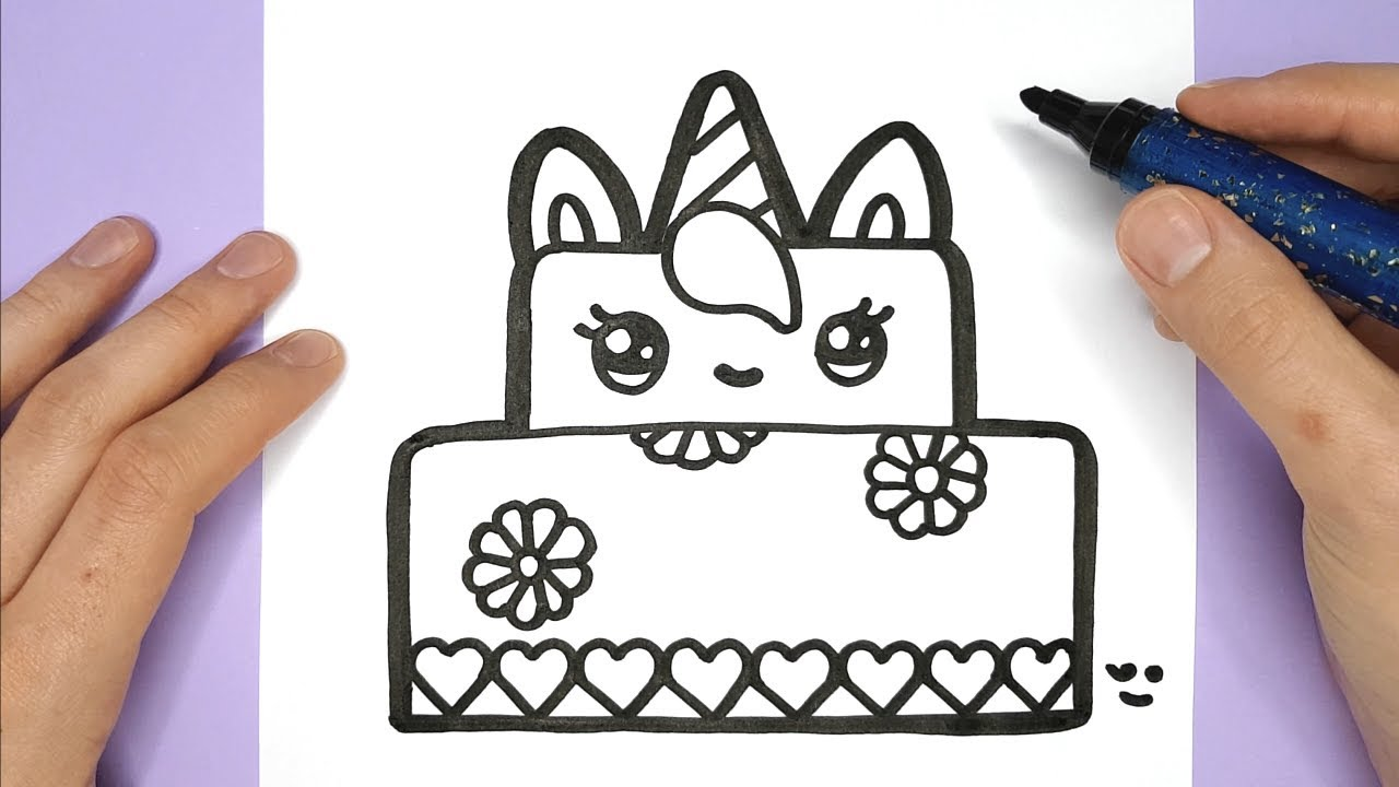 How to Draw a Cute Unicorn Cake - Happy Drawings Unicorn