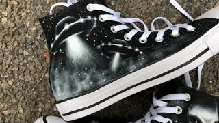 6e727eb2082 Custom Painted UFO X-Files Converse All Stars   Handpainted Sneakers (short  closeup video ...