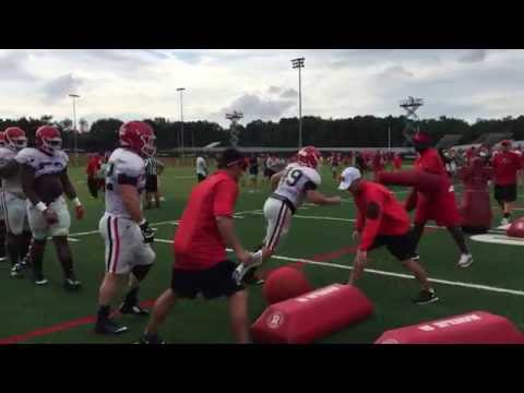 Georgia defensive linemen go through drills during Wednesday's practice