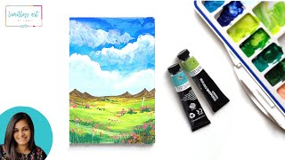 Easy Gouache Landscape Tutorial - For beginners #paintwithviddhi