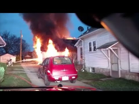 Newark Ohio Fire Department working house fire with