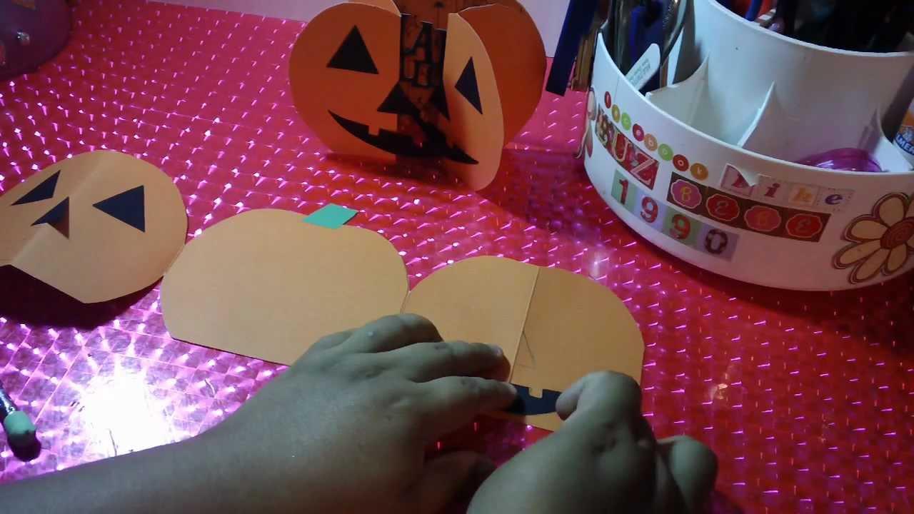 Tarjeta invitacion para halloween calabaza pop open - Hacer calabaza halloween ...