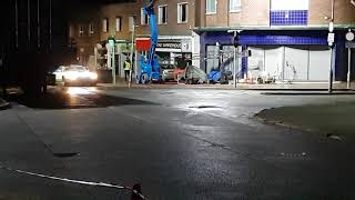 Forthcoming Sky 1 drama Curfew starring Sean Bean night filming in Crewe recently.