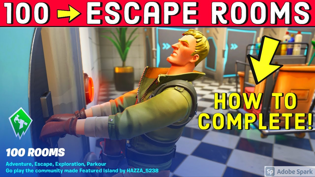 How To Complete 100 Rooms By Hazza 9223 0773 2089 Fortnite Creative Escape Room Map Youtube