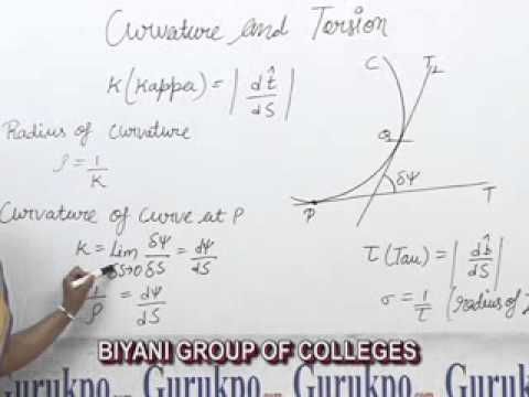 Curvature and Torsion, B.Sc, M.Sc Lecture by Megha Sharma.