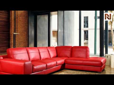Bella Italia Leather 260 Sectional Sofa In Red VGBI260-16 : red leather sectional sofa - Sectionals, Sofas & Couches