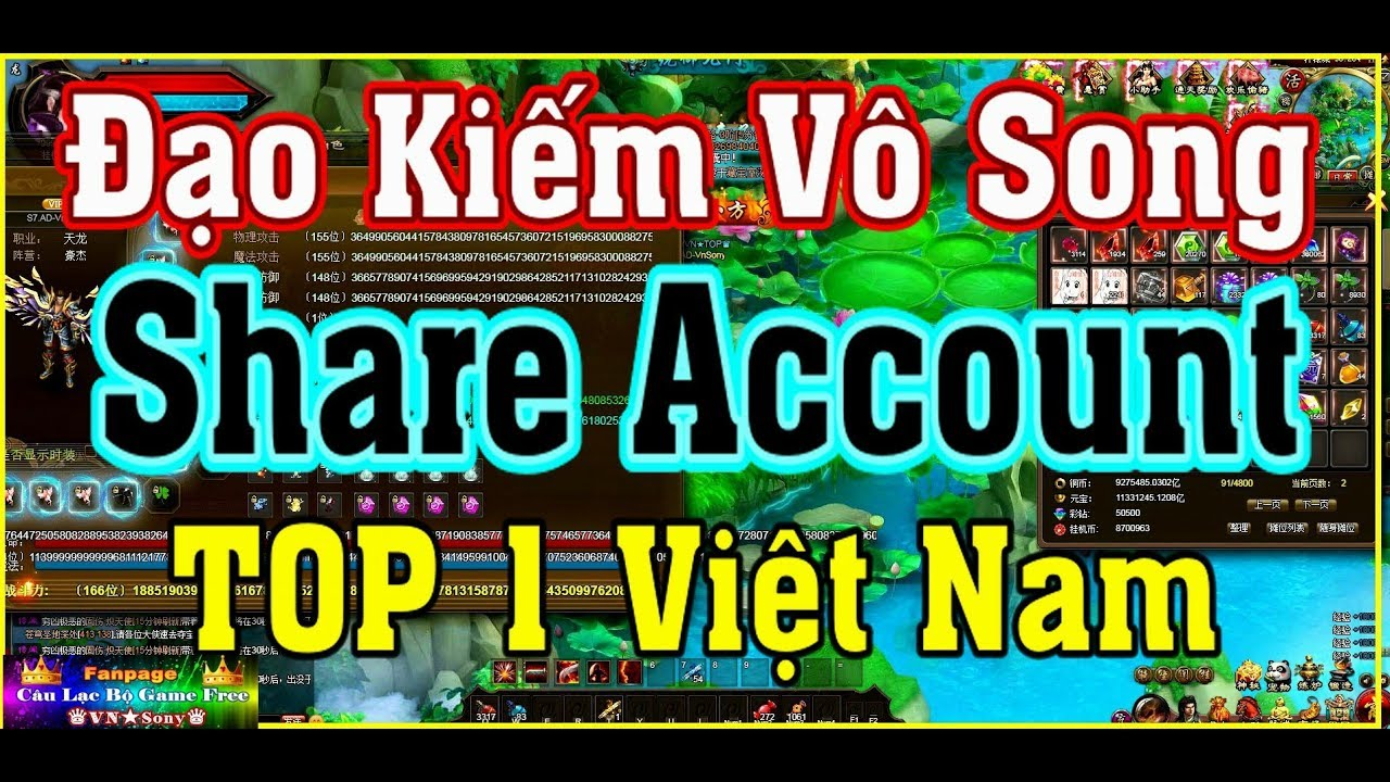 《WebGame Lậu》Share Tài Khoản TOP 1 VN – Đạo Kiếm Vô Song #327
