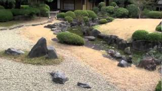 "Japanese Rock Garden, (Osaka) ""Fudaraku Garden"" - with Shakuhachi music"