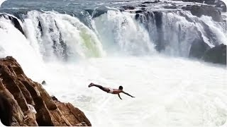 INSANE Waterfall Dive | Miraculous Survival #WIN