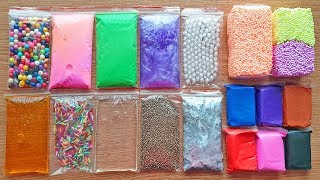 Making Crunchy Slime With Bags and Glitter Floam Bricks - Satisfying Slime Videos