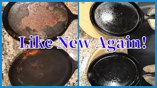 How to Restore Rusty Cast Iron | Easy Step by Step | #castironskilletcare #ironcastskillet