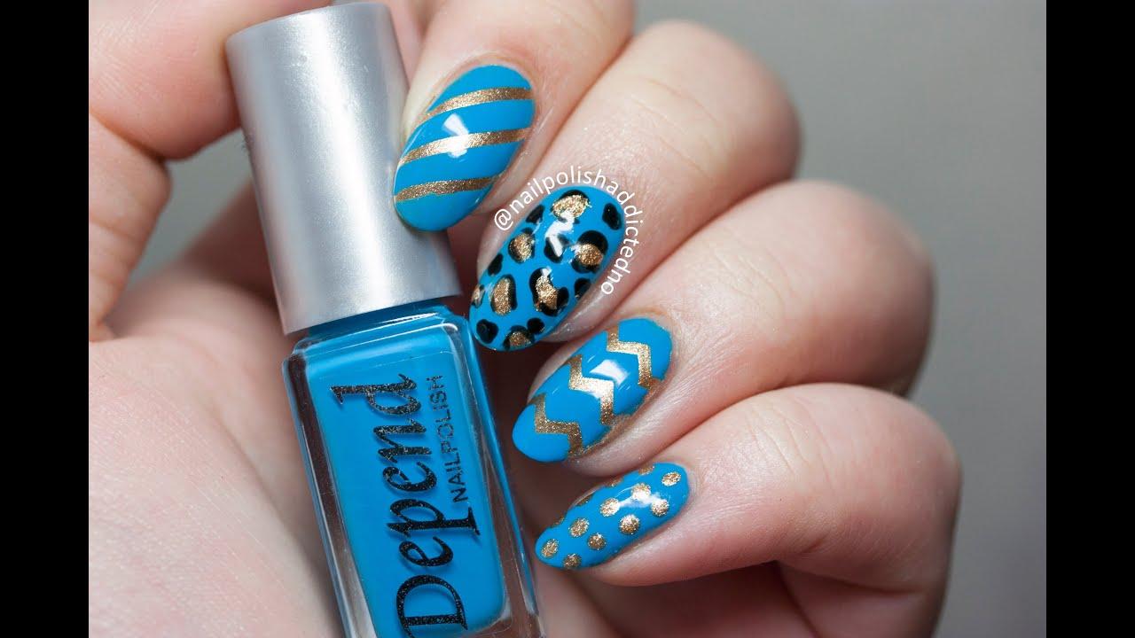 blue & gold mix & match design - nail art tutorial