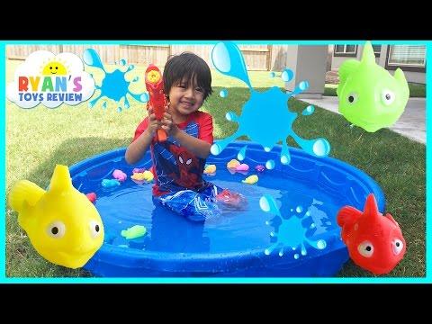 Playtime in Kiddie Pool Water Family Fun Water Gun Fight Surprise Toys Challenge Easter Egg Batman