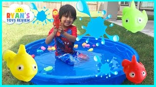 Go fishing and Surprise Toys Challenge with Ryan ToysReview!