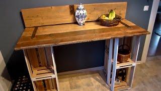 Tisch selber bauen (aus einer Tür und Weinkisten)
