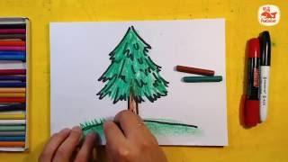 Как нарисовать Ёлку. Урок рисования для детей от 3 лет, РыбаКит(Рисуем Дерево Ёлку для детей.
