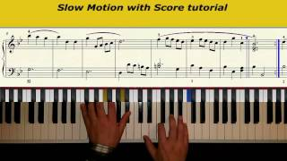 Minuet in G minor JS Bach slow motion with Score tutorial