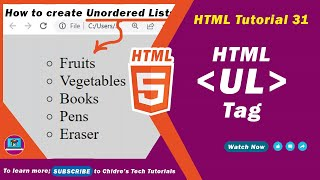 HTML video tutorial - 31 - html ul tag and html li tag