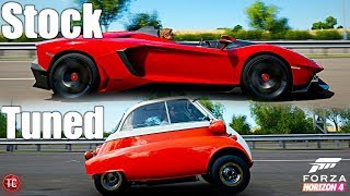 Forza Horizon 4: Stock vs Tuned! Lamborghini Aventador J vs BMW Isetta!