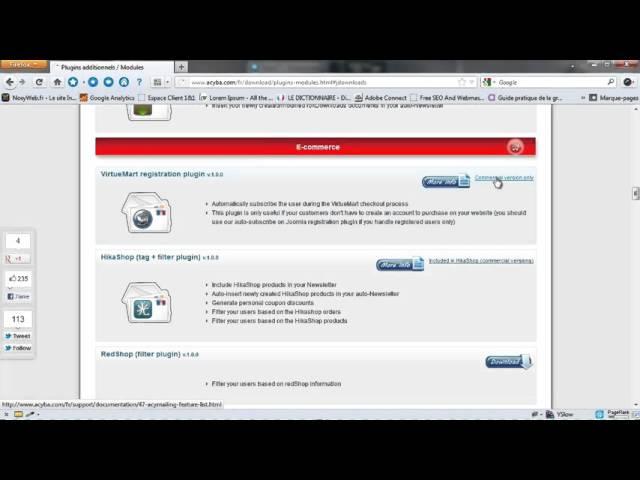 AcyMailing - Les plugins pour acymailing