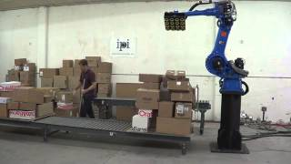 YASKAWA Motoman robot -- depalletizing random-cases with perception from Industrial Perception, Inc.