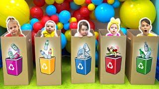 Five Kids Clean Up Trash Song Nursery Rhymes & Children's Songs