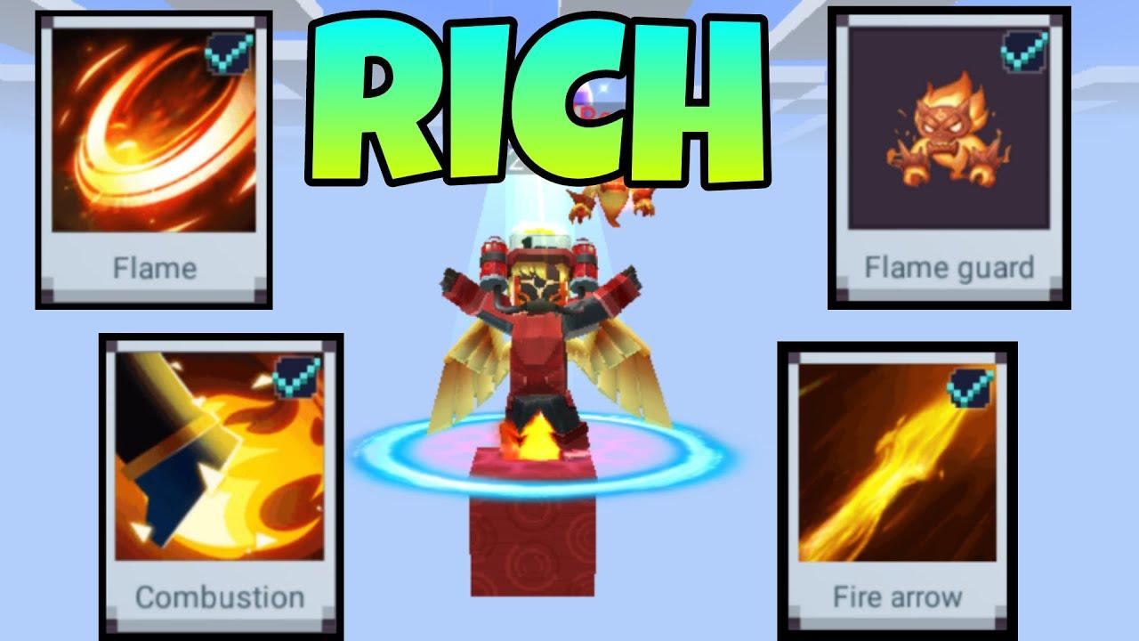 Rich Pro Lava Skin + Fire Effects in BedWars ( BlockmanGo) (Blockman Go)