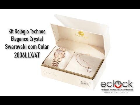 22f29ace70426 Kit Relógio Technos Feminino Elegance Crystal Swarovski Kit com Colar  2036LLX 4T - Eclock