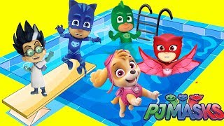 PJ Masks Swimming Pool Water Slide Compilation to Find Woody's Bottle Cap