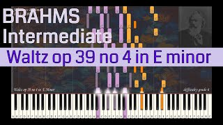 Johannes Brahms - Waltz op 39 no 4 in E Minor | Synthesia Piano Tutorial | Library of Music