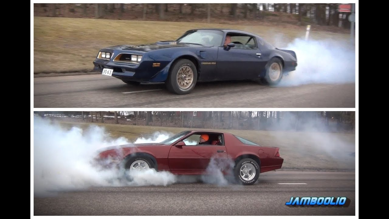 burnout contest pontiac trans am 6 6 vs chevrolet cama. Black Bedroom Furniture Sets. Home Design Ideas